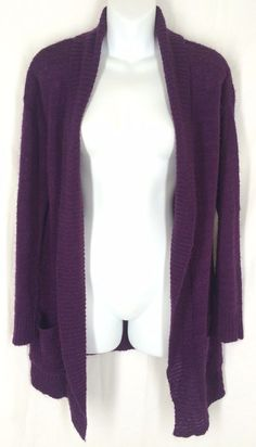 ASOS Sweater 6 Purple Cardigan Long Sleeves Open Front Ribbed Trim Acrylic Solid #ASOS #Cardigan
