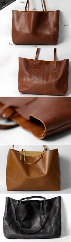 Handmade modern vintage leather big black brown tote bag shoulder bag   EverHandmade