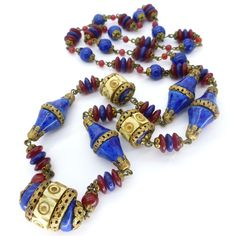 Vintage Czech Art Deco Red & Lapis Blue Glass Carved Bead Necklace