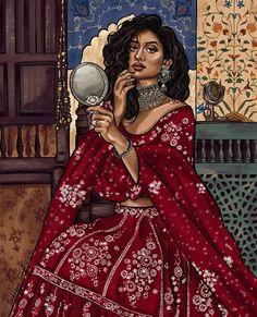 Indian Illustration, Fashion Illustration Sketches, Woman Illustration, Indian Aesthetic, Aesthetic Art, Indian Photoshoot, Photoshoot Ideas, Modern Indian Art, India Art