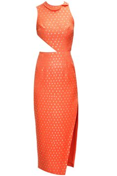 Orange embroidered cut out dress available only at Pernia's Pop-Up Shop.