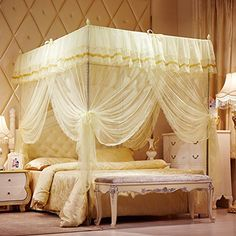 Mosquito Net Bed Canopy-Lace Luxury 4 Corner Square Princess Fly Screen, Indoor Outdoor(Beige, King) ** Click image for more details.