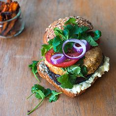 Lentil burger w/ sweet potato fries Recipe