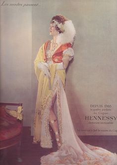 "Cognac Hennessy in 1935    Model wears a ""Merveilleuses"" outfit circa 1798"