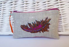 Small zip up silk purse with embroidered feather by NicolaJDesigns, Free Machine Embroidery, Glasses Case, Bright Pink, Uni, Zip Ups, Coin Purse, Feather, Pouch, Colours