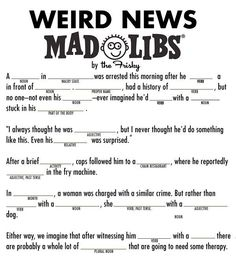 Trendy funny christmas games for adults mad libs ideas Crazy News Stories, Funny Stories For Kids, Funny Kids, Birthday Games For Adults, Adult Party Games, Adult Games, Birthday Ideas, Birthday Parties, Birthday Bash