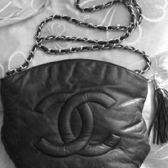 Coco Chanel purse inspired by Black leather tassel bag with gold triming Coco Chanel purse Bags Shoulder Bags