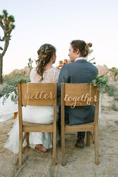 Better Together Chair signs - Laser cut chairback - Chair signs - Engagement party decor - wedding decor - wedding signs - rustic decor #weddingdecoration