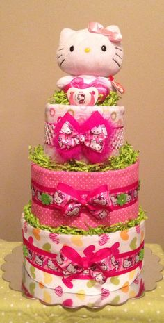 Baby Girl...Pink and LIme Green...Hello Kitty...Diaper cake... Centerpiece..