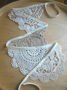 a lace doily bunting