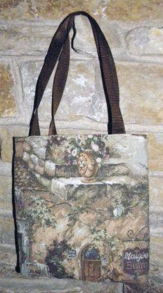 Handmade French Bistro Scene Tapestry Tote -