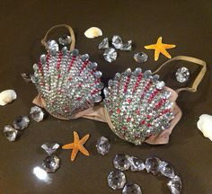 Lady Gaga ARTPOP Rhinestone Glitter sea shell bra - Mermaid costume - lingerie - Made to Custom Order - swinefest