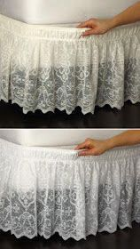 Lace Trimmed Bed Wrap Ruffle Bed Skirt-clever to use elastic- this would look awesome layered over burlap or dropcloth bedskirt Lace Trimmed Bed Wrap Ruffle Bed Skirt if I can't use curtains for canopy,use it for this-- place higher up and make skirt long Ruffle Bed Skirts, Ruffle Bedding, Boho Bedding, Grey Bedding, Bedding Sets, Shabby Chic Bedrooms, Shabby Chic Decor, Bed Wrap, No Sew Curtains
