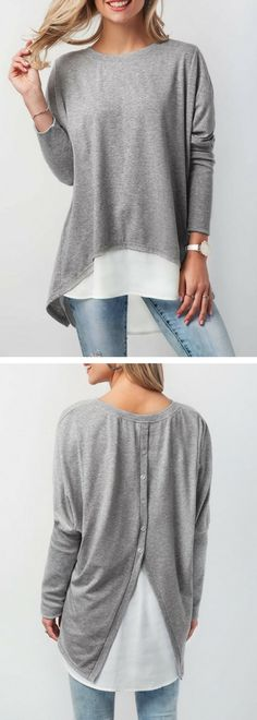 Button Back Patchwork Long Sleeve T Shirt.