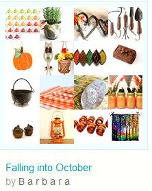 """☛http://www.etsy.com/shop/paroliro """"Falling into October"""" features Autumn hand made and vintage gift ideas for the home and garden from my talented fellow Etsians. [*Click on image to see all 16 items I chose.] ☚ Pinned with TreasuryPin.com"""