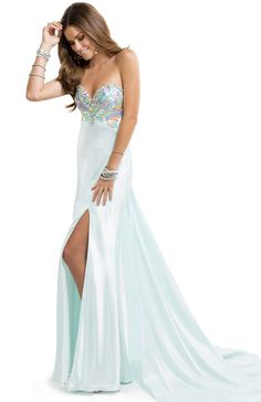 Bright Satin Dress with paillette Bodice & Jeweled Neckline | FLIRT #love #pastel #prom