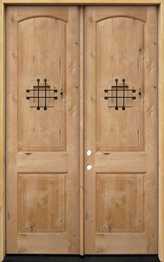 Door Clearance Center is your source for knotty alder wood doors! Hundreds in stock in Houston, Texas at discount prices. Wood Entry Doors, Wood Exterior Door, Knotty Alder Doors, Front Entry, Double Doors, House Front, Building A House, Iron, The Unit
