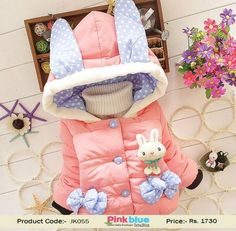 Kids Winter Collection 2016 - Baby Girl Jacket, Warm Winter Coat for Toddler Girls, Baby Clothing, Kids Outerwear, Kids Winter Outfits, Baby Winter Wear, Party Wear Coat, Bunny Hood and Pockets #2yrs #3yrs #4yrs #5yrs