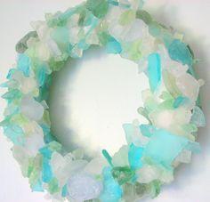 Beach Decor Sea Glass Wreath - Nautical Beach Glass Wreath for Table or Wall