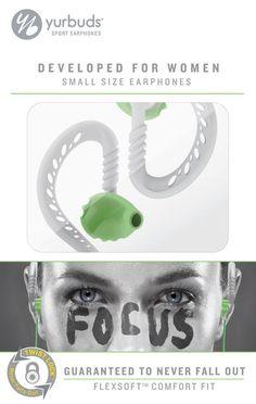 Yurbuds Focus for Women Sport Running Earphones Earbuds Headphones Green 10217 #Yurbuds