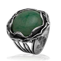 Shablool Didae Sterling Silver Ring Aventurine Green Ladies Women
