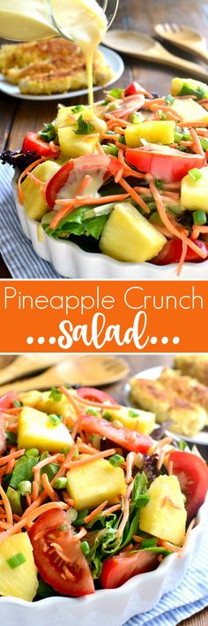 This Pineapple Crunch Salad is loaded with fresh pineapple, tomatoes, carrots, green onions, and crispy chicken....and topped with the BEST homemade honey mustard dressing. A salad and a meal, all in one!