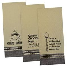 """Bring a vintaged touch to your kitchen with this charming cotton dishtowel, showcasing a retro sign motif for charming appeal.   Product: Set of 3 dishtowelsConstruction Material: 100% CottonColor: Black and naturalFeatures: Retro sign motifDimensions: 18"""" x 28"""""""