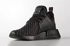 "adidas NMD XR1 ""Triple Black"" a Closer Look Three Stripes BOOST sole R2 Primeknit pattern"
