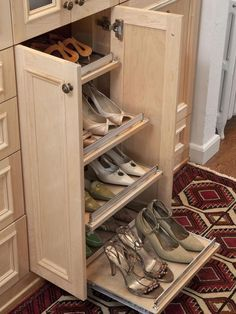 Natural Maple Wood Dressing Room with Front and Back Slide Out Shoe Shelves - eclectic - closet - The Art of Custom Storage Shoe Storage Bins, Shoe Storage Solutions, Entryway Shoe Storage, Shoe Shelves, Closet Storage, Storage Cabinets, Diy Storage, Closet Organization, Storage Spaces