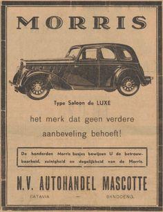 Advertentie voor Autohandel Mascotte. Nieuws van de dag voor Nederlands Indie, 02-09-1937 Vintage Ads, Vintage Posters, Vintage Designs, Dutch East Indies, Old Ads, Print Ads, Toys For Boys, Cool Artwork, Advertising