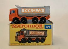 Matchbox #51 Lesney AEC 8-Wheel Tipper DOUGLAS Orange Tow With Original Box #Matchbox #AECUK