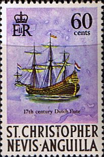 1970 St Christopher Nevis Anguilla SG 218 Dutch flute Fine Mint  Scott 219  Other Stamps of St Kitts Nevis HERE