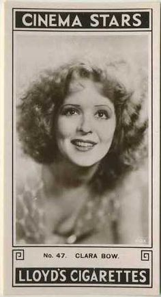 Clara Bow ~ 1935 Lloyd Cinema Stars Tobacco Card, Series 2 #47 on Immortal Ephemera