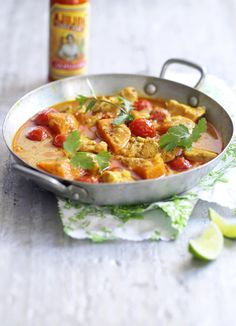 West Indian chicken curry with cinnamon and tomatoes - make a curry in half an hour. With coconut and sweet potato, this quick chicken curry is a tasty and filling midweek dish for four.