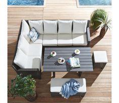 Attraktive Loungegarnitur in Dunkelbraun - lässt Sie stilvoll entspannen Outdoor Sofa, Outdoor Furniture Sets, Outdoor Decor, Ibiza, Sectional Sofa, Home Decor, Terrace, Dark Brown, Modular Sofa