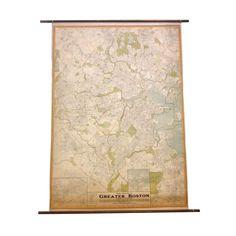 Oversize 1930's Street Map of Greater Boston