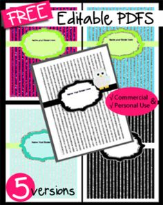 Free Editable PDFS - Binder Covers Great for Memory Books or for Organization