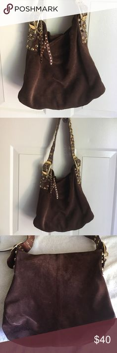 Guess By Marciano Suede Bag good condition some ink marks inside some wear on the side of the strap Height 12inch Width 13inch Depth 4inch Drop 10inch Guess by Marciano Bags Shoulder Bags