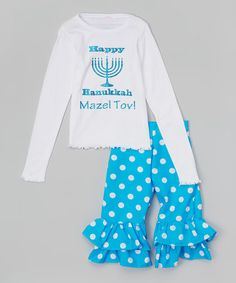 Look at this #zulilyfind! White 'Happy Hanukkah' Tee & Blue Pants - Infant, Toddler & Girls by Beary Basics #zulilyfinds