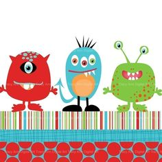 Monster trio clip art and papers for invites, scrapbooking. $4.95, via Etsy.