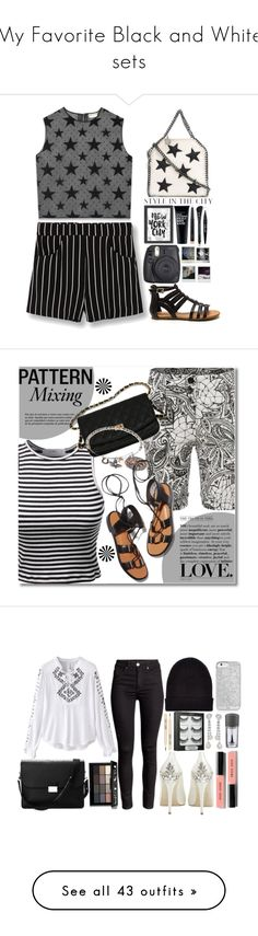 """""""My Favorite Black and White sets"""" by ctpyp ❤ liked on Polyvore featuring Yves Saint Laurent, STELLA McCARTNEY, Americanflat, Clark's Botanicals, MANGO, MAC Cosmetics, Marc Jacobs, Maybelline, Fuji and Polaroid"""