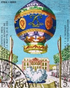 Vintage Steampunk Balloon Postage Stamp Print