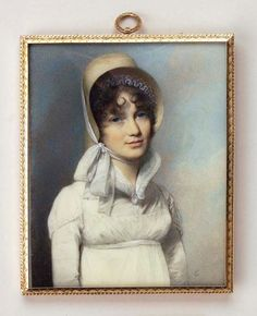Portrait of a Young Lady, 1807  watercolour on ivory, gold, George Engleheart. Note that her bosom is covered up modestly.