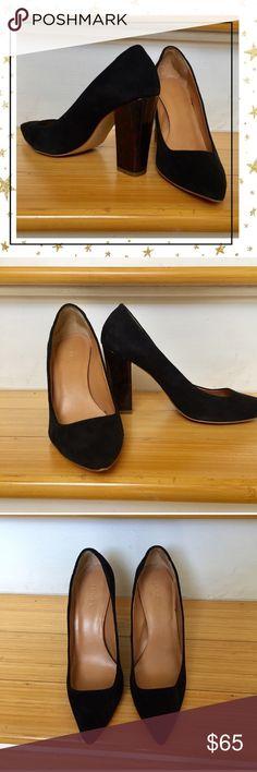 "J.Crew Suede Pumps Black shoe, animal print 4"" heel. Pre- owned but in excellent condition J. Crew Shoes Heels"