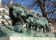 Lion, lionne, sanglier par Auguste Cain