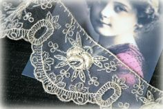 Ivory Italian Embroidered Lace for Millinery by TresorsdeLuxe, $7.49
