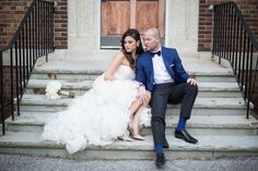 Andrew's College bride and groom on stairs Andrew College, Boston, Groom, Stairs, Bride, Sunset, Wedding Dresses, Wedding Bride, Bride Dresses