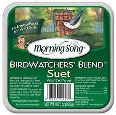 Morning Song 11431 Birdwatchers' Blend Suet Wild Bird Food, 10.75-Ounce - High energy treat packed with select seeds and nutsMade with 100% USDA approved food-grade beef tallowNo miloAttracts a variety of birds, even those that don't normally eat at your seed feeders.