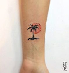Tiny Palm Tree Tattoo Color New Ideas Trendy Tattoos, New Tattoos, Body Art Tattoos, Small Tattoos, Tattoos For Guys, Cool Tattoos, Tatoos, Flower Tattoos, Beachy Tattoos