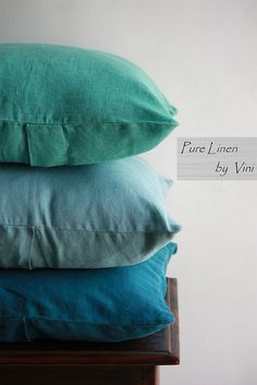 Pure Linen by Vini | Solid Linen Stone Washed Pillows | Ocean